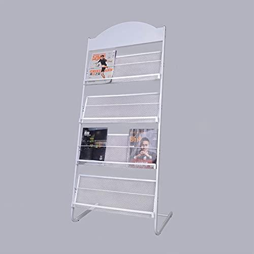 Revistero de rejilla metálica, estante para documentos, estante para catálogos, estante para folletos, estante para exhibición periódica, utilizado en bibliotecas, salas de exposición, exposiciones