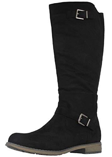 Fitters Footwear That Fits Damen Stiefel Vanessa Microfibre Stiefel klassisch elastisch Übergröße (42 EU, schwarz)