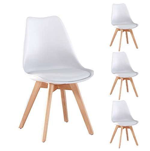 Merax Modern Living Dining Room Chairs Set of 4, with Wood Legs and Soft Cushion for Kitchen Bedroom, White
