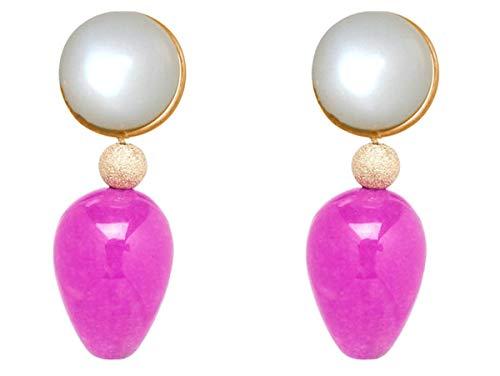 Gemshine Ohrringe mit weißen Mondsteinen und rosa pink Jade Edelstein Tropfen. 925 Silber hochwertig vergoldet - Nachhaltiger, qualitätsvoller Schmuck Made in Germany