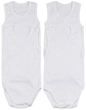 ToBeInStyle Baby Boys  4 Pack Tank Top Bodysuit Onesies - White - 0-3 Months