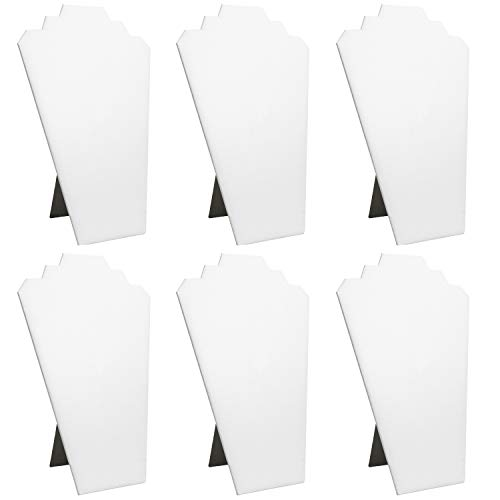 "Mooca 6 Pieces White Faux Leather Covered MDF Wood with Cardboard Easel Necklace Display, Jewelry Stand Display Necklace Display for Craft Shows, 8 1/4"" W x 12 1/2"" H"