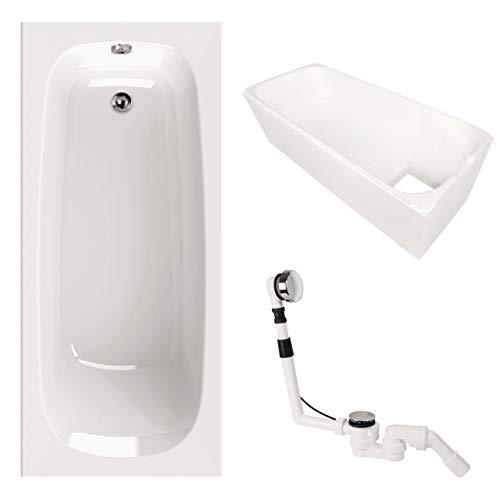 Acryl-Badewanne | Set | Badewanne | Wannenträger und Excenter Ab- und Überlaufgarnitur | 180 x 80 cm | Weiß
