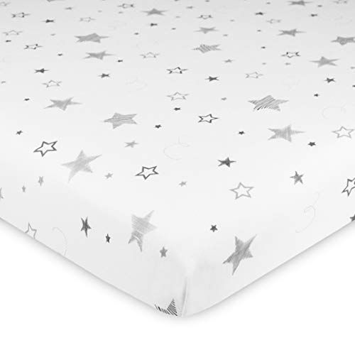 TL Care 100% Natural Cotton Value Jersey Knit Fitted Cradle Sheet, Super Stars, Soft Breathable, for Boys & Girls