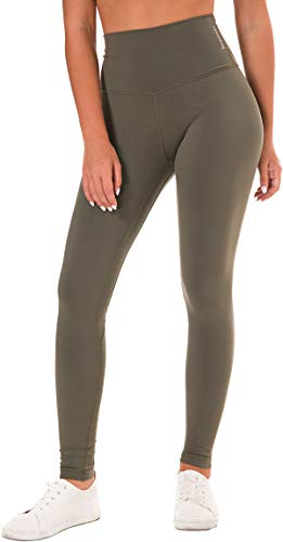 Chaos World Mujer Pantalones Deportivas Leggins Yoga Elastico Cintura Altura Largos Leggings(Verde Militar,XL/Tag 12)
