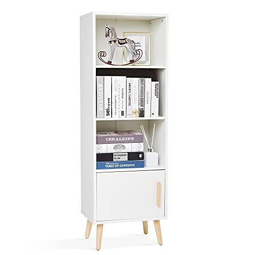 Meerveil Bücherregal, Bücherschrank mit 1 Tür und 3 Fächern aus Holz Modern für Wohnzimmer Schlafzimmer Arbeitszimmer, 42 x 30 x 127 cm, Weiß