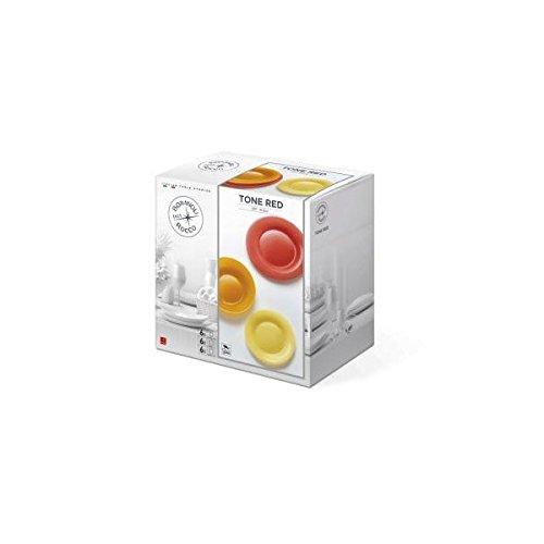 Bormioli New Acqua-Set d'assiettes 18 pièces Ton Rouge, Porcelaine, Blanc