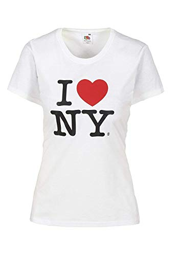 I love NY Camiseta de Manga Corta para Mujer con diseño de corazón y Texto, impresión Camiseta para Mujer con diseño de Amor, 100% algodón, Color Rojo Blanco L