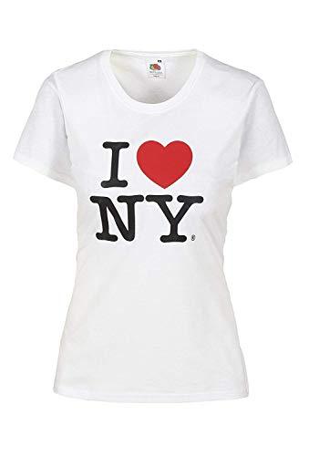 I love NY T-Shirt Damen Herz Shirt weiblicher Schnitt hochwertiger Druck. Damentop mit Love Motiv Rot 100% Baumwolle (L, Weiß)