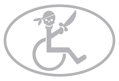 【全16色】車椅子マーク/車イス サイン/カー ステッカー/Car/スカル/ドクロ/車用/シール/ Vinyl/Decal /バイナル/デカール/-3B (シルバー) [並行輸入品]