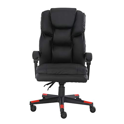 Ergonomischer Bürostuhl, Schreibtischstuhl, Computerstuhl, hohe Rückenlehne, Drehgelenk, Leder, Gaming-Chefsessel mit Rückenlehne, gepolsterte Armlehne