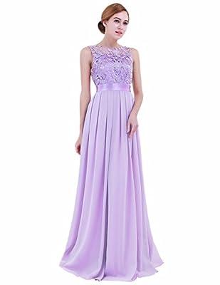 iEFiEL Summer Wedding Floral Lace Crochet Bridesmaid Chiffon Dress Evening Gown Lavender 10