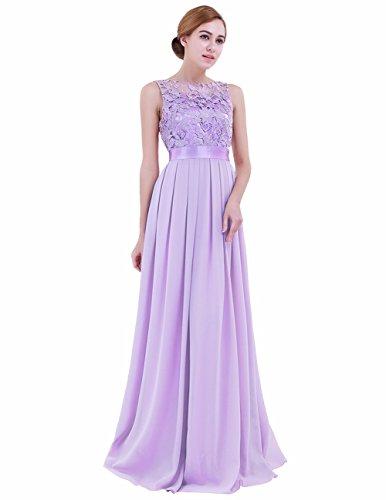 iEFiEL Summer Wedding Floral Lace Crochet Bridesmaid Chiffon Dress Evening Gown Lavender 14