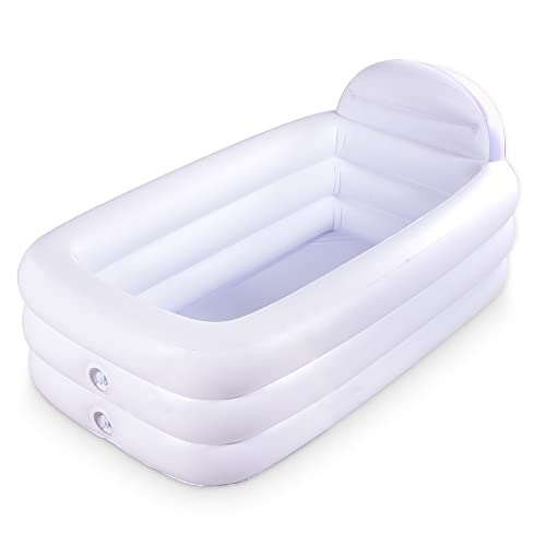Marca Amazon – Umi Bañera inflable portátil, color blanco duradero bañera de remojo con respaldo grande, piscina inflable independiente, baño, hogar, spa