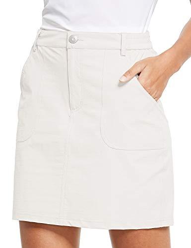 BALEAF Women's Golf Skort UPF 50 Active Athletic Skort Casual Skort Skirt with Zip Pockets Hiking Outdoor White M