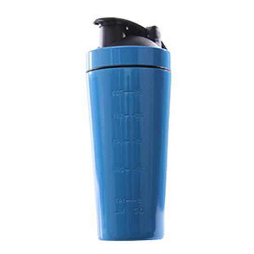 TOOGOO Botella Vibradora de ProteíNas de Acero Inoxidable Gimnasio Shaker Batido Deportivo Batidora Botella de Agua ProteíNa de Suero Fitness Sin BPA Azul