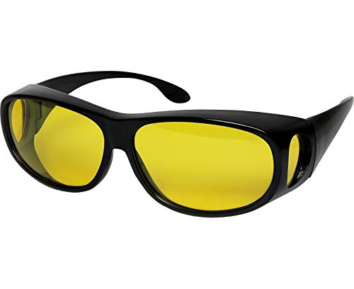 Night Driving Glasses Anti Glare Polarized HD Night Vision Yellow Tint Night Driving Glare Reducing Fit Over Driving Sunglasses Men and Women