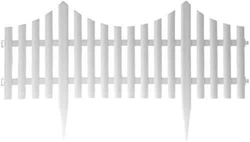 KHD Picket Fence -Multipacks/White Wood Effect, Plastic Garden Border Edge/Picket Fencing Interlocking Panels for Flowerbeds/Multipacks (PACK OF 8)