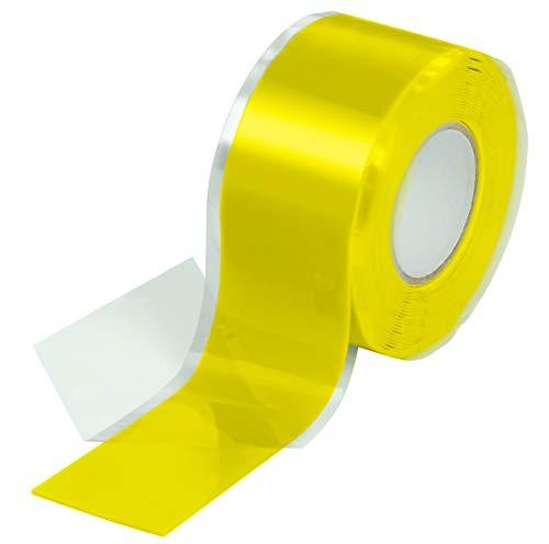 Poppstar 1x 3m selbstverschweißendes Silikonband, Silikon Tape Reparaturband, Isolierband und Dichtungsband (Wasser, Luft), 25mm breit, gelb