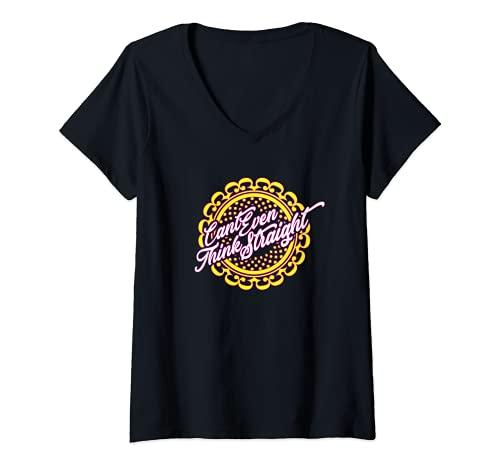 Mujer Ni siquiera puedo pensar con claridad en el Orgullo Lésbico Camiseta Cuello V