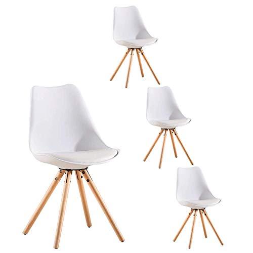 LOVEMYHOUSE Set mit 4 Esszimmerküchenstühlen aus Kunststoff mit Rückenlehne und weichem Kissen Tischstuhl für Home Bedroom Office Restaurant (Weiß)