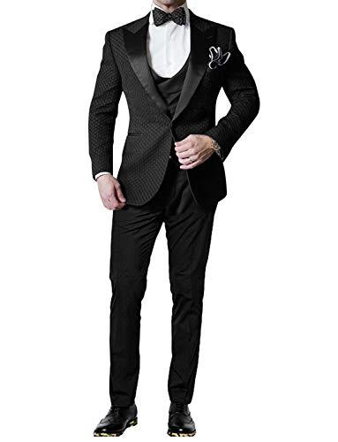 UMISS Hombre Gofre Primo Smoking 3 Piezas Traje Chaqueta Tux Chaleco y Pantalones