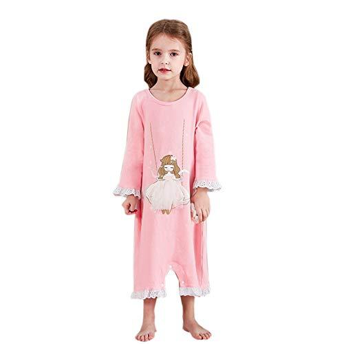 Elonglin Mädchen Schlafoveralls mit Druckknopf Nachthemd Pyjamas Baumwolle Nachtwäsche a 134-140