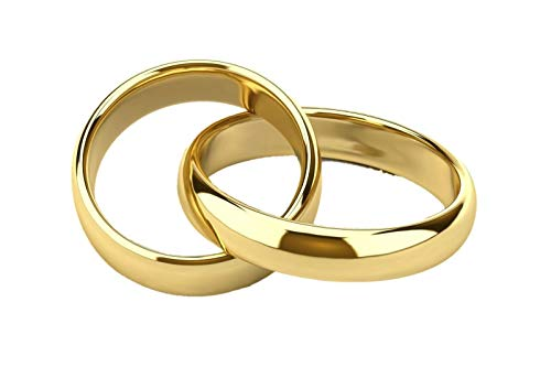 OTTAGONO Coppia Anelli FEDINE/FEDI Nuziali - Fidanzamento Argento 925 Placcato Oro Giallo INCISIONI Interne GRATUITE (NCA0068/POG)