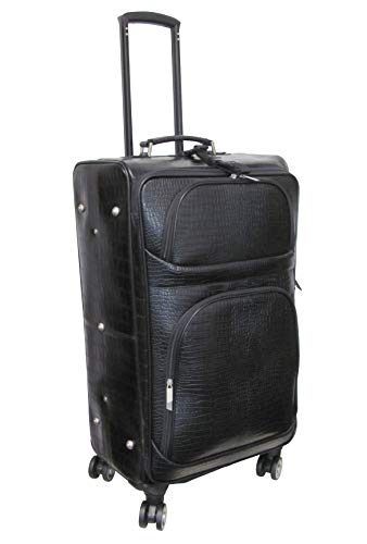 %25 OFF! Amerileather Black Leather Croco-Print Luggage on Spinner Wheels (#8601-0L)