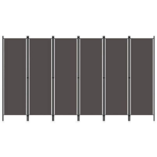 vidaXL Raumteiler Klappbar Freistehend Trennwand Paravent Umkleide Sichtschutz Spanische Wand Raumtrenner 6-TLG. Anthrazit 300x180cm Eisen Stoff