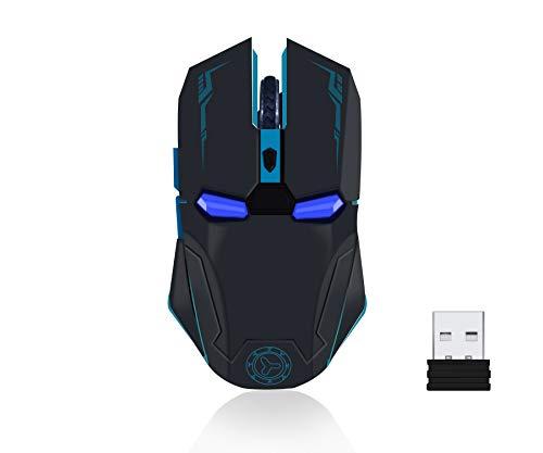 Mouse Homem de Ferro Sem Fio de 2,4 GHz, Mouse Óptico Slim Silent Ergonomic com Receptor USB 6 Botões e 1200/1600/2400 DPI Mouse Sem Fio Ajustável para PC/Laptop/Desktop/Mac (Polido com Mouse Pad), Preto