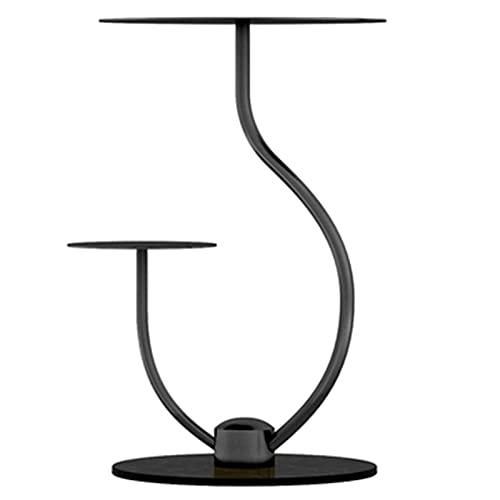 Tavolini XIAOR Rotondo Nordico a Forma di J, caffè con Base in Marmo a 2 Livelli, Vassoio in Metallo Dorato, Supporto per Vaso di Fiori per Piscina da Balcone(Color:Black)