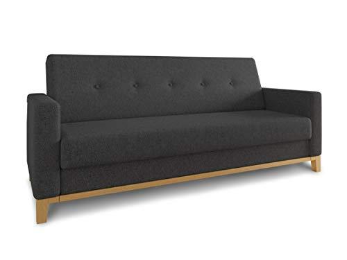 Sofa Wood mit Schlaffunktion - Schlafsofa mit Bettkasten, Bettsofa, Massivholz, Polstersofa mit Holzfüße, Couchgarnitur, Couch (Schwarz (Twist 23))
