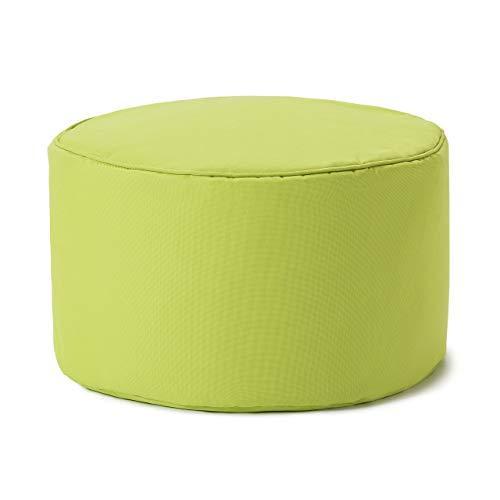 Lumaland Indoor Outdoor Sitzhocker 25 x 45 cm - Wasserabweisend - Pflegeleicht -Runder Sitzpouf, Sitzsack Hocker, Sitzkissen, Bean Bag Pouf - ideal für Kinder und Erwachsene - Apfelgrün