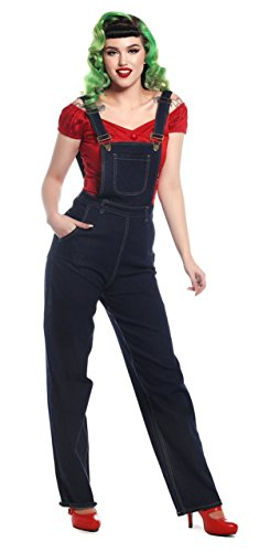 Collectif Damen Latzjeans Pippa High Waisted Latzhose Blau 3XL
