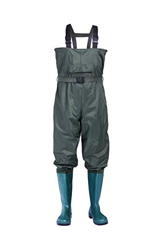 no!no! Chest Waders,Waiters,Hip Waders,Fishing Waders for Men and Women Waterproof Nylon/PVC Bootfoot Hunting Waders with Boots Fishing Waiters with Wading Boots,Lightweight Green Waders