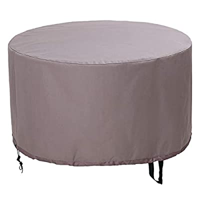 KOLIFE K LIFE Heavy Duty Round Fire Pit/Table Cover 36 inch, Patio Fire Bowl Cover, Waterproof and Weatherproof, 36''Dia x 20''H
