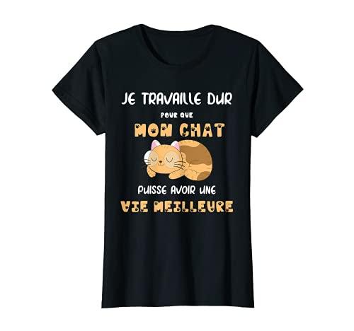 Femme Cadeau Original Femme Humour Chat. Je Travaille Dur T-Shirt