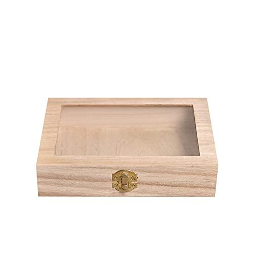 Caja de almacenamiento de madera tung cosméticos té flip espejo caja de la pluma caja de la joyería caja de almacenamiento de la joyería-marrón, 20* 15* 4.5cm
