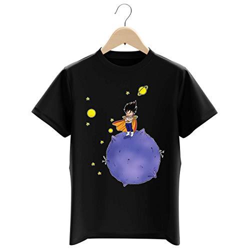 Okiwoki T-Shirt Enfant Garçon Noir Parodie Dragon Ball Z - DBZ - Végéta - Le Petit Prince Saiyan (T-Shirt Enfant de qualité Premium de Taille 3-4 Ans - imprimé en France)