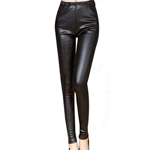 FANMURAN Pantalones de Cuero Leggings cálidos Engrosamiento Pantalones de Cintura Alta de Cuero Negro…