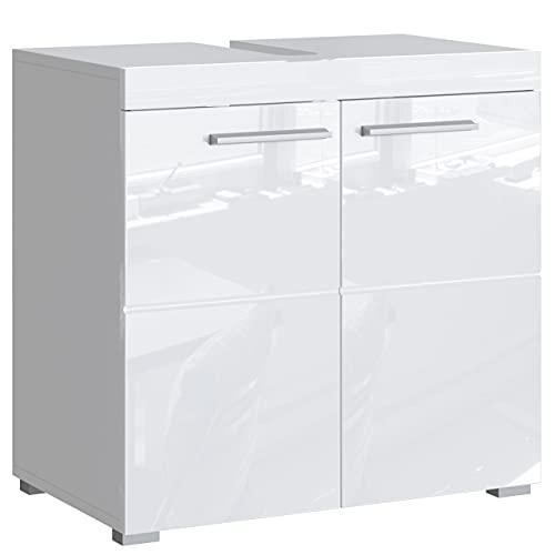 Newroom Waschbeckenunterschrank Weiß Hochglanz mit viel Stauraum - 60x56x34 cm (BxHxT) - Badezimmer Unterschrank Badezimmerschrank Badezimmermöbel Badunterschrank - [Trinity.Seven]