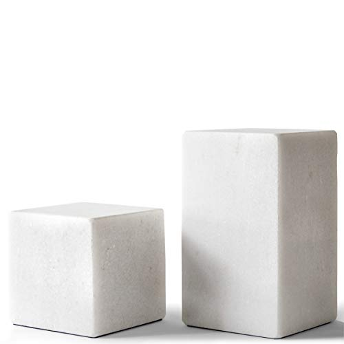 &Minimal Marble Bookends Modern Decorative Bookends - Natural Polished White Marble Bookends - Heavy...