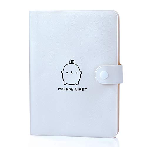 Molang Academic Planner, Weekly & Monthly Planner with Calendar Stickers & Buckle, Any Year Scheduler with No Printed Date, 4.5' x 6.15' ( White)