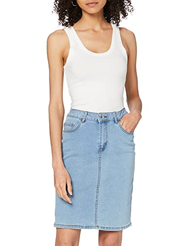 VERO MODA Damen VMHOT Nine HW DNM Pencil Skirt GA NOOS Rock, Blau (Light Blue Denim Light Blue Denim), L