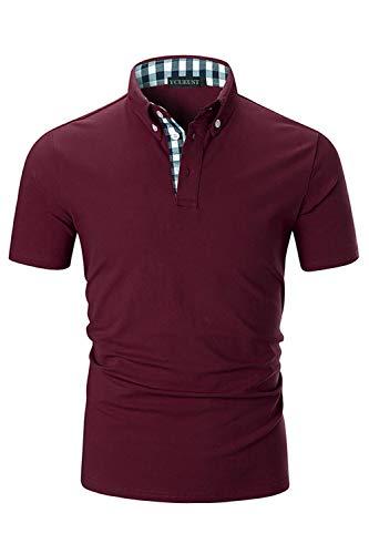 YCUEUST Lattice Polo Uomo Cotone Collana Basic Golf Casual T-Shirt Rosso Medium