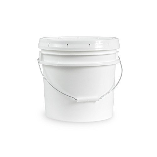 Living Whole Foods 5 Gallon White Bucket & Lid - Set of 3 - Durable 90 Mil All Purpose Pail - Food Grade - Contains No BPA Plastic