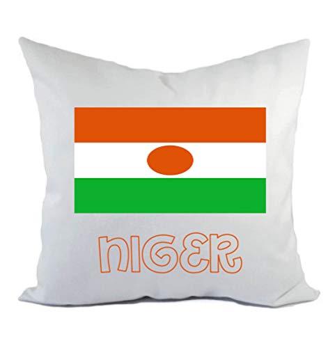 Typolitografie Ghisleri kussen wit Niger met vlag kussensloop en vulling 40 x 40 cm van polyester