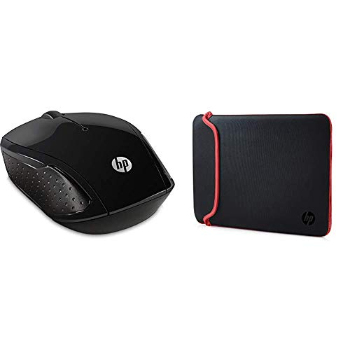 HP 200 Black 2.4 GHz USB Wireless Mouse with Red LED 1000 DPI Optical Sensor, Up to 12 Months Battery Life & 14 Inch (35.5 cm) Black & Red Reversible Neoprene Sleeve for Laptop/Chromebook/Mac
