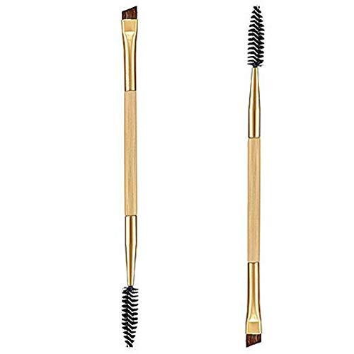 WADFV Pinceau De Maquillagemaquillage Poignée Bambou Brosse Double Sourcils + Peigne Sourcils